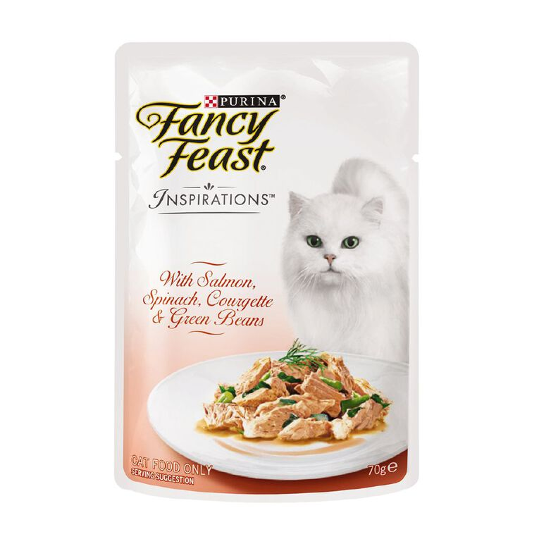 Fancy Feast Inspirations Salmon & Spiaich Courgette with Beans 70g Pouch, , hi-res
