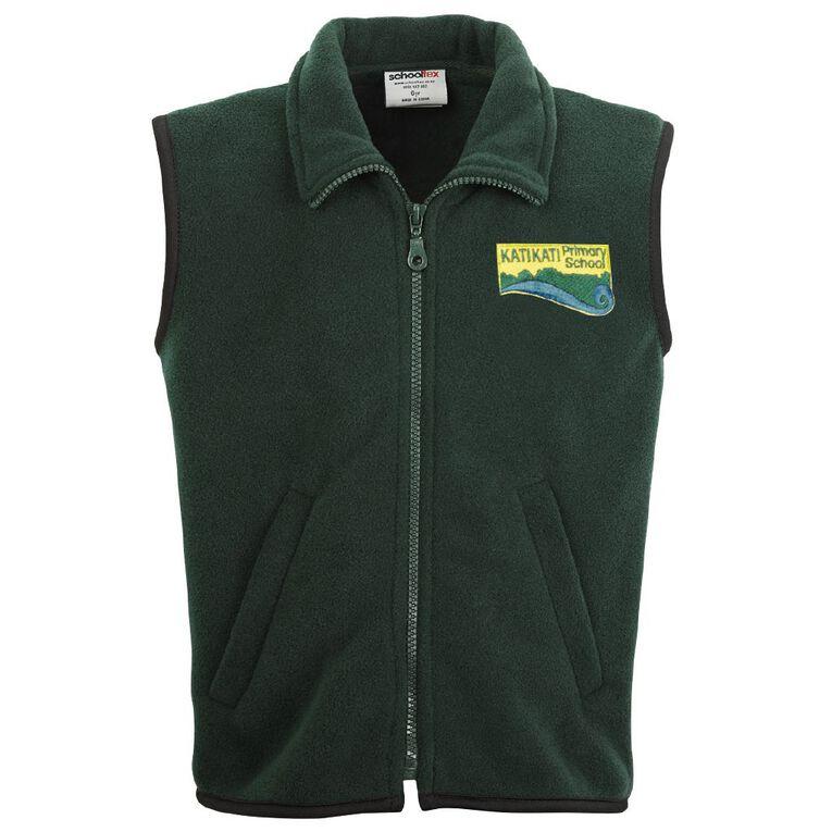 Schooltex Katikati Polar Fleece Vest with Embroidery, Bottle Green, hi-res