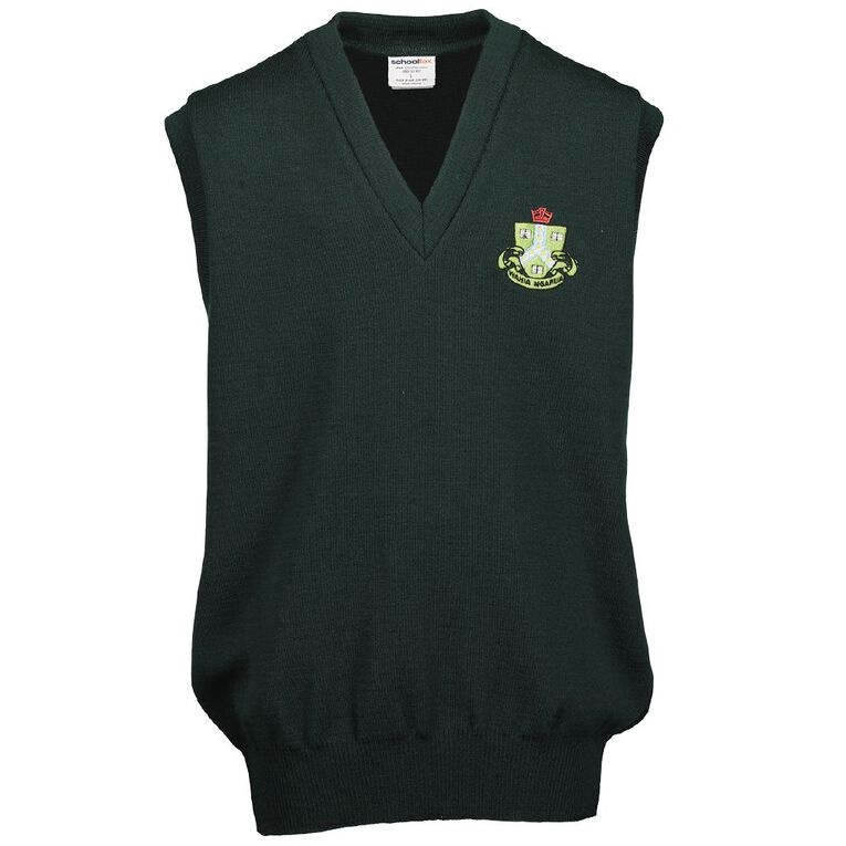 Schooltex Ngaruawahia Wool Vest with Embroidery, Bottle Green, hi-res