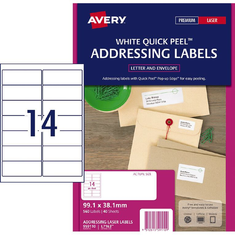 Avery Address Labels with Quick Peel White 560 Labels, , hi-res