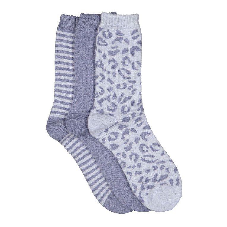 H&H Women's Home Socks 3 Pack, Blue Light, hi-res