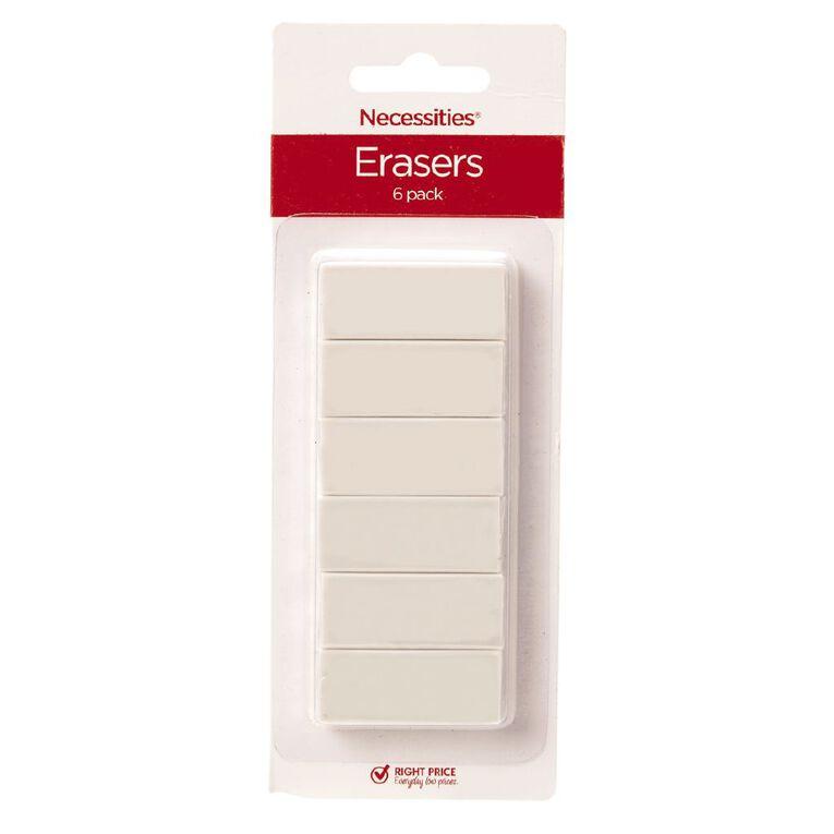 No Brand Erasers Small White 6 Pack, White, hi-res