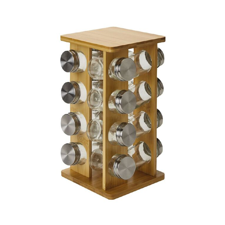 Living & Co Bamboo Spice Rack 16 Pack, , hi-res