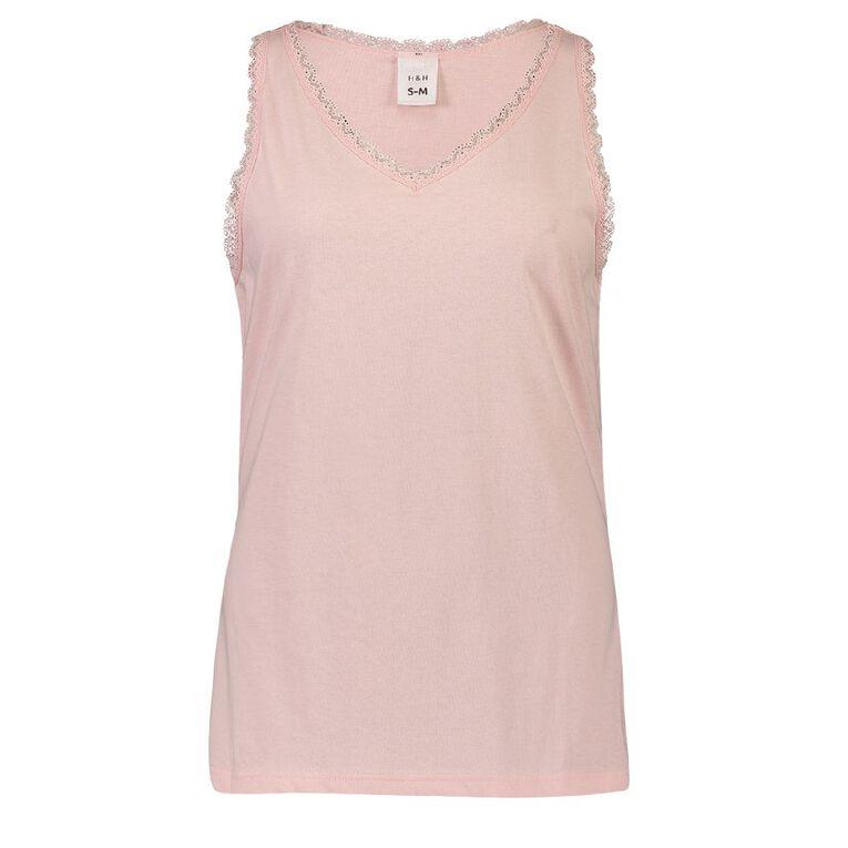 H&H Women's V Neck Lace Sleep Singlet, Pink, hi-res