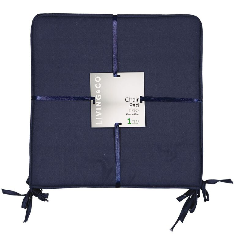 Living & Co Chair Pad 2 Pack Denim 40cm x 40cm, Denim, hi-res image number null