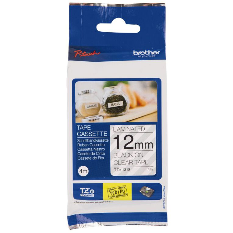 Brother Label Tape TZE131S 12mm 4m Black on Clear, , hi-res