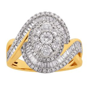 1.50 Carat Diamond 9ct Gold Cluster Halo Twist Ring