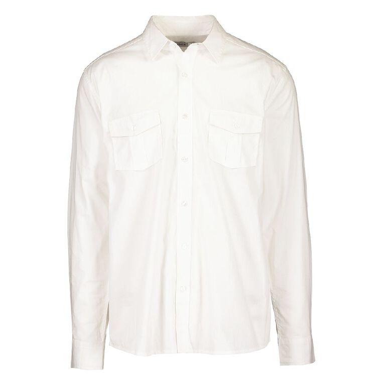 H&H Men's Long Sleeve Plain Cotton Shirt, White, hi-res
