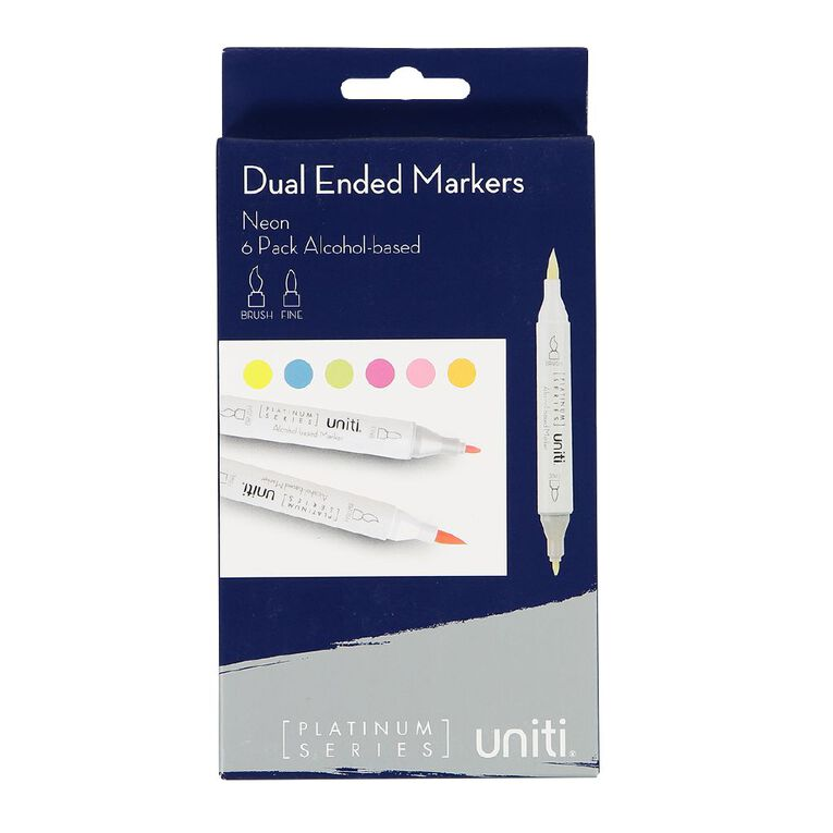 Uniti Dual Ended Markers Neon 6 Pack, , hi-res