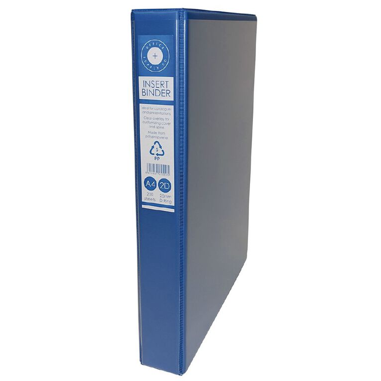 Office Supply Co 2D Ringbinder Overlay Blue A4, , hi-res