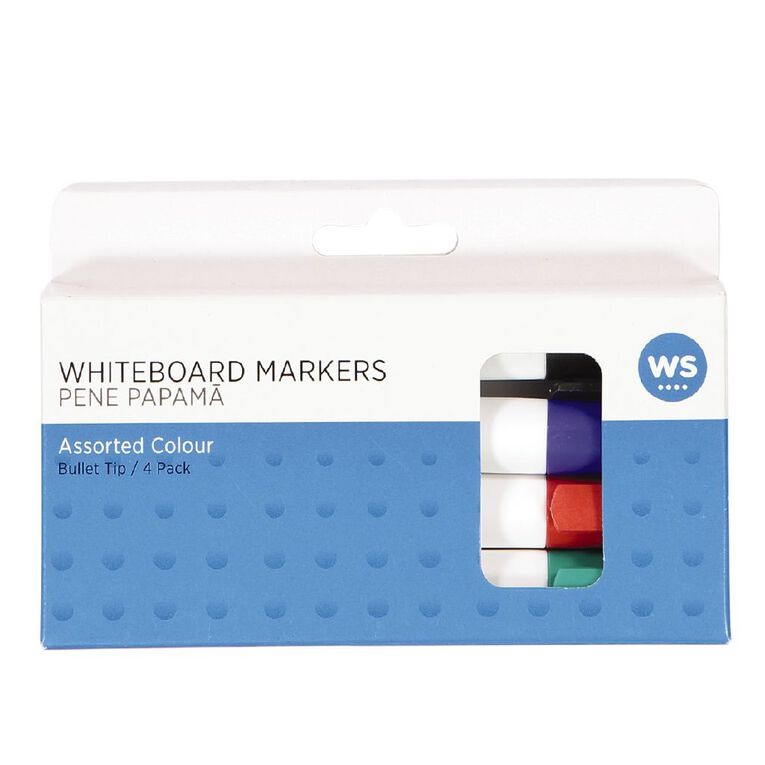 WS Whiteboard Markers Bullet 4 Pack Assorted, , hi-res