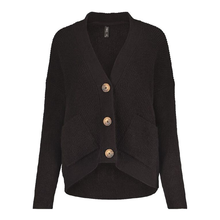 H&H Button Rib Cardigan, Black, hi-res image number null