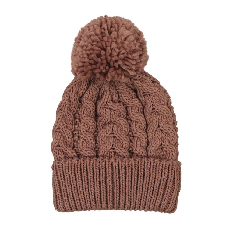 Young Original Girls' Cable Knit Beanie, Pink, hi-res