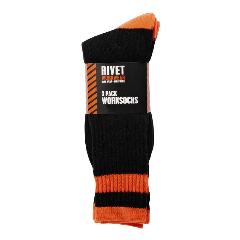 Rivet Men's Fluoro Work Socks 3 Pack, Orange, hi-res image number null