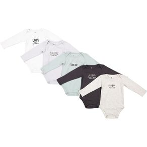 Young Original Baby 5 Pack Long Sleeve Bodysuits