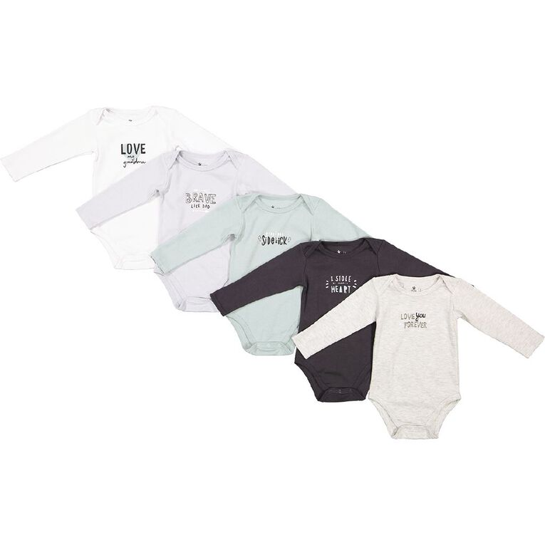 Young Original Baby 5 Pack Long Sleeve Bodysuits, White, hi-res