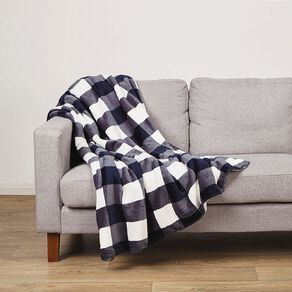 Living & Co Flannel Printed  Sherpa Throw Mirage Blue 127cm x 152cm