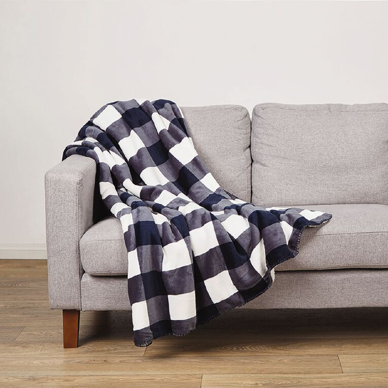 Living & Co Flannel Printed  Sherpa Throw Mirage Blue 127cm x 152cm, Blue, hi-res