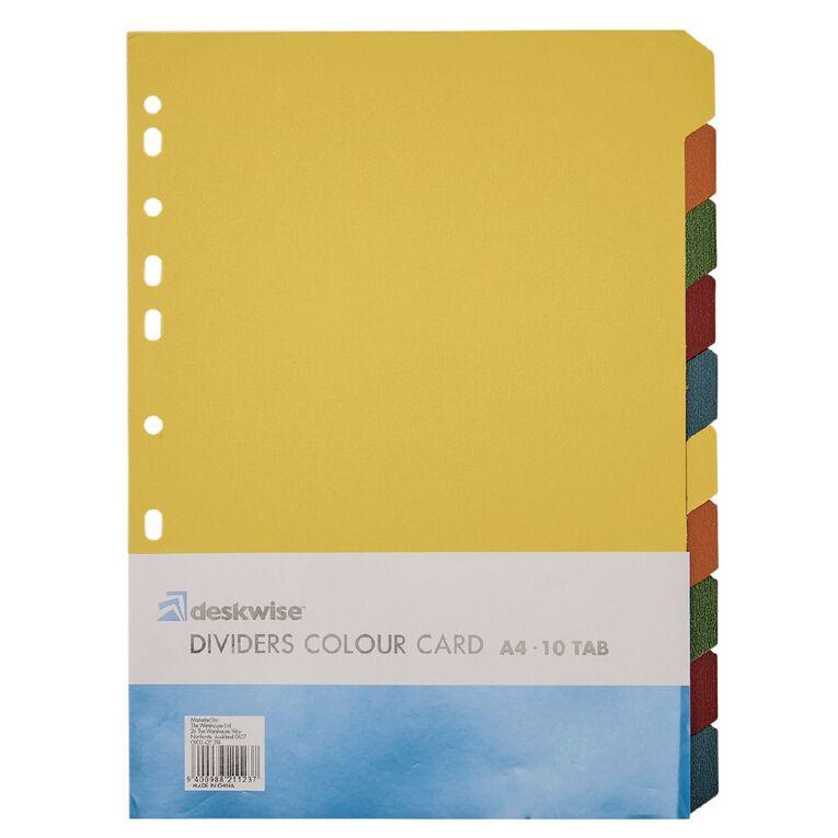 Dividers Card 10 Tab Multi-Coloured A4, , hi-res