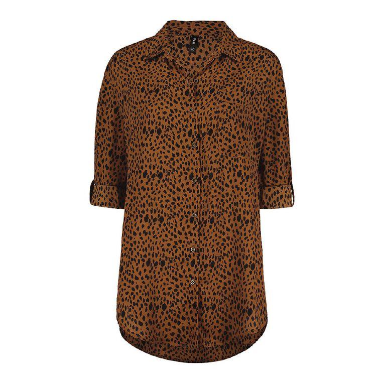 H&H Women's Chiffon Shirt, Brown Mid, hi-res