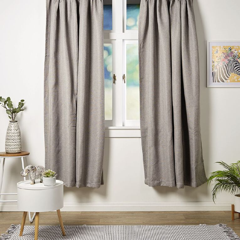 Living & Co Urban Curtains Taupe 150-230cm Wide/205cm Drop, Taupe, hi-res