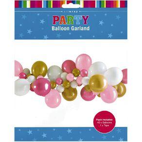 Artwrap Party Balloon Garland Pink & White 40 Pack