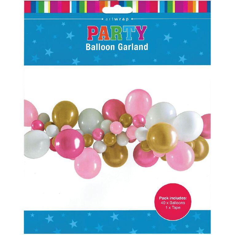 Artwrap Party Balloon Garland Pink & White 40 Pack, , hi-res