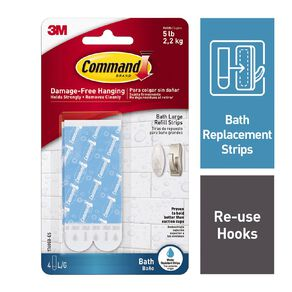 Command Replacement Bath Hook Strips White Large