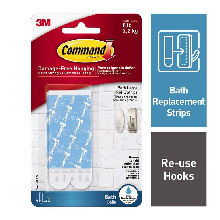 Command Replacement Bath Hook Strips White Large, , hi-res