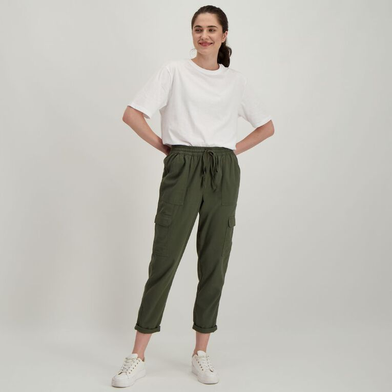H&H Women's Cuffed Chino Pants, Khaki beetle, hi-res