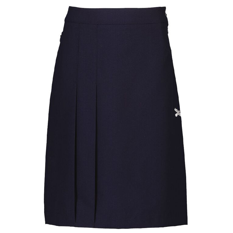 Schooltex Greenmeadows A Line 2 Pleat Skirt with Embroidery, Navy, hi-res