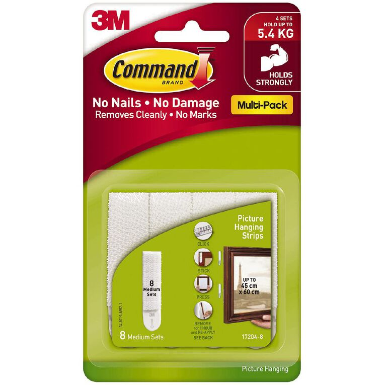 Command Picture Hanging Strips Value Pack 8 Pack White Medium, , hi-res