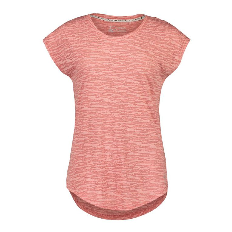 Active Intent Women's Burn Out Extended Shoulder Tee, Pink Mid DUSTY ROSE, hi-res