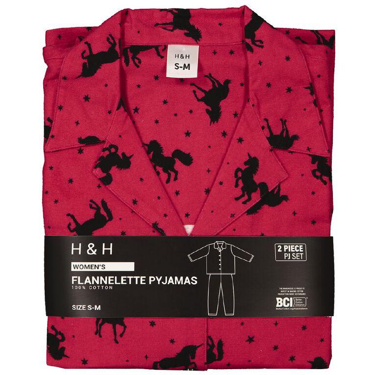 H&H Women's Flannelette Pyjamas Set, Red, hi-res