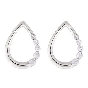 0.05 Carat Diamond Sterling Silver Tear Stud Earrings