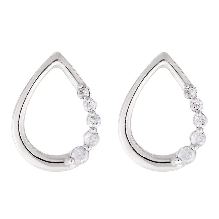 0.05 Carat Diamond Sterling Silver Tear Stud Earrings, , hi-res