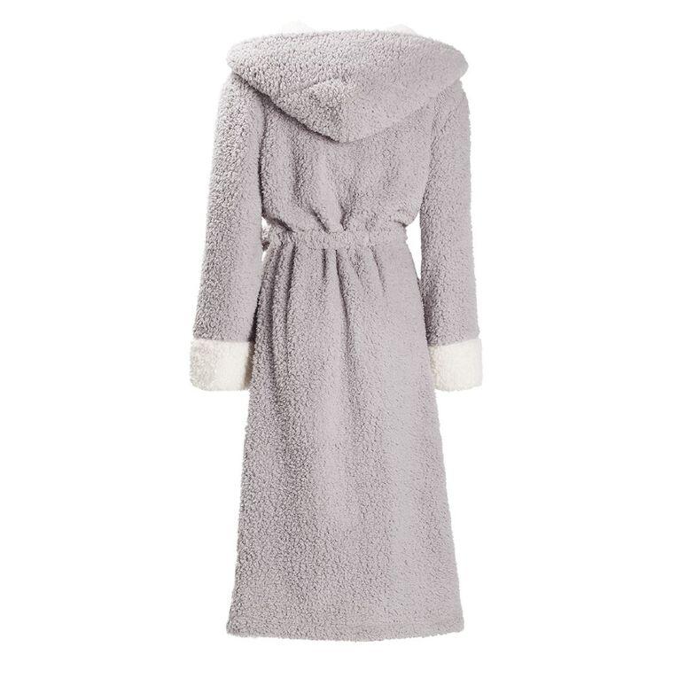 H&H Women's Hooded Sherpa Teddy Robe, Grey Mid, hi-res