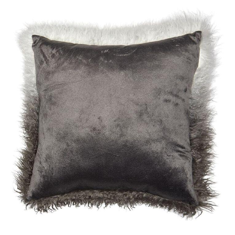 Living & Co Ombre Faux Mongolian Cushion Charcoal 45cm x 45cm, Charcoal, hi-res