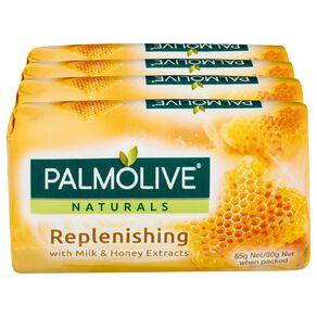Palmolive Naturals Milk & Honey Replenishing Bar Soap 4 Pack 90gm Yellow