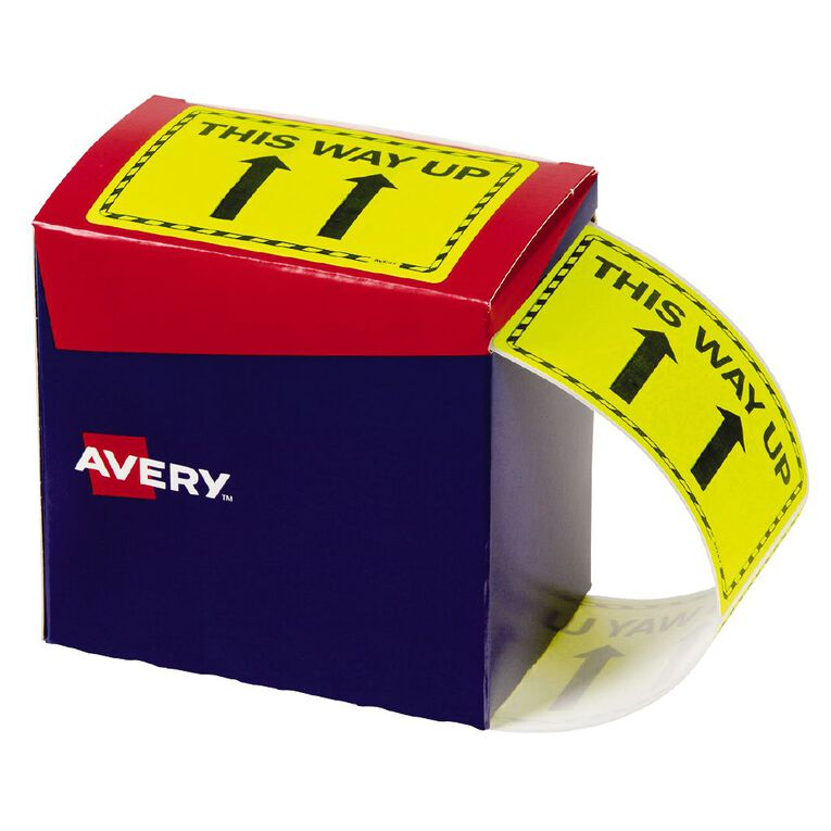 Avery This Way Up Labels Fluoro Yellow 750 Labels, , hi-res