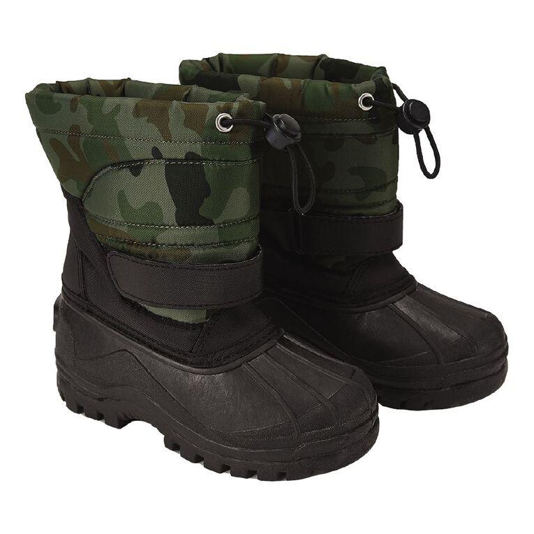 Young Original Kids' Walt Snow Boots, Black/Green, hi-res