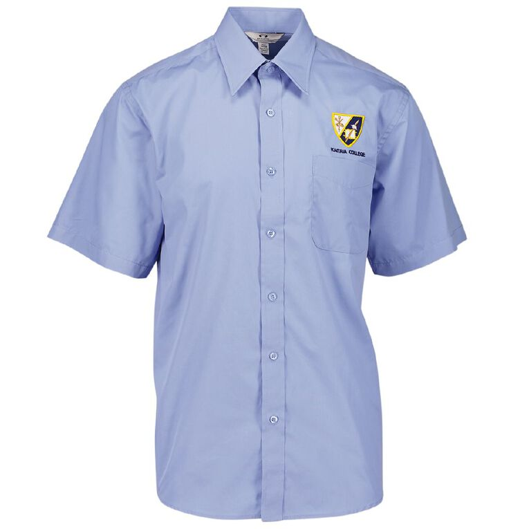 Schooltex Kaitaia College Short Sleeve Poplin Shirt with Embroidery, Blue, hi-res