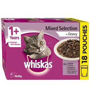 Whiskas Adult Wet Cat Food Mixed Selection in Gravy 18X85g Pouch 18 Pack