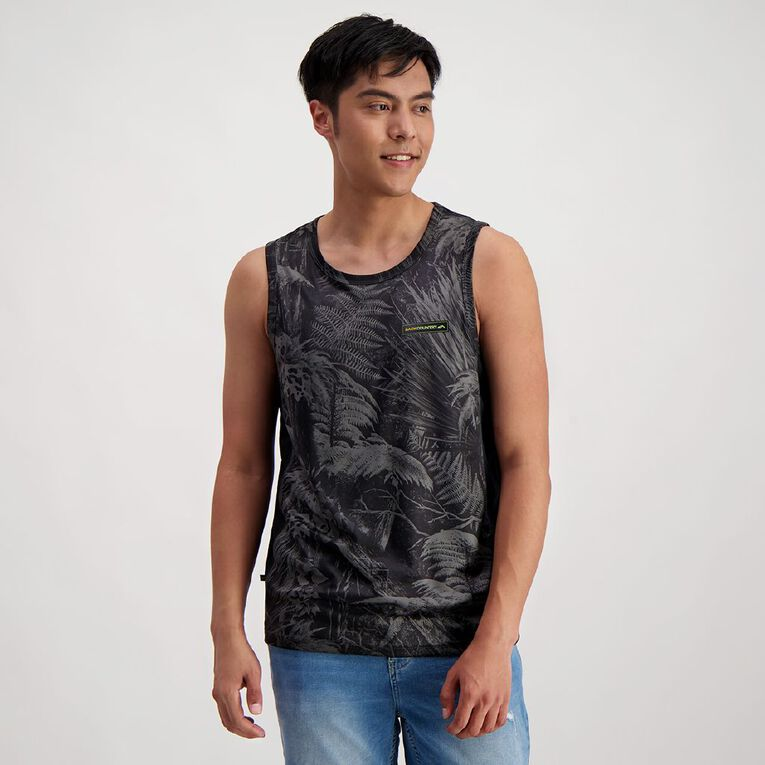Back Country Men's Cool Dry Spliced Camo Singlet, Charcoal, hi-res