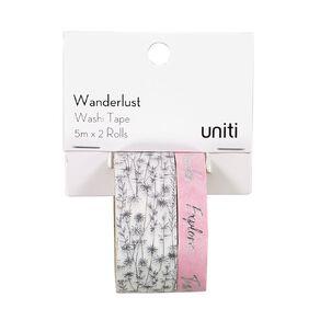 Uniti Wanderlust Washi Tape Flowers & Pink With Silver Foil 5m x 2 Rolls