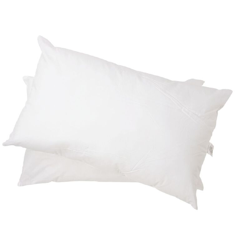 Living & Co Pillow Cotton Firm Twin Pack White 72cm x 44cm, White, hi-res