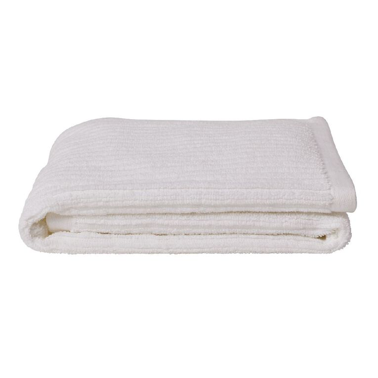 Living & Co Hand Towel Organic Ribbed White 40cm x 65cm, , hi-res