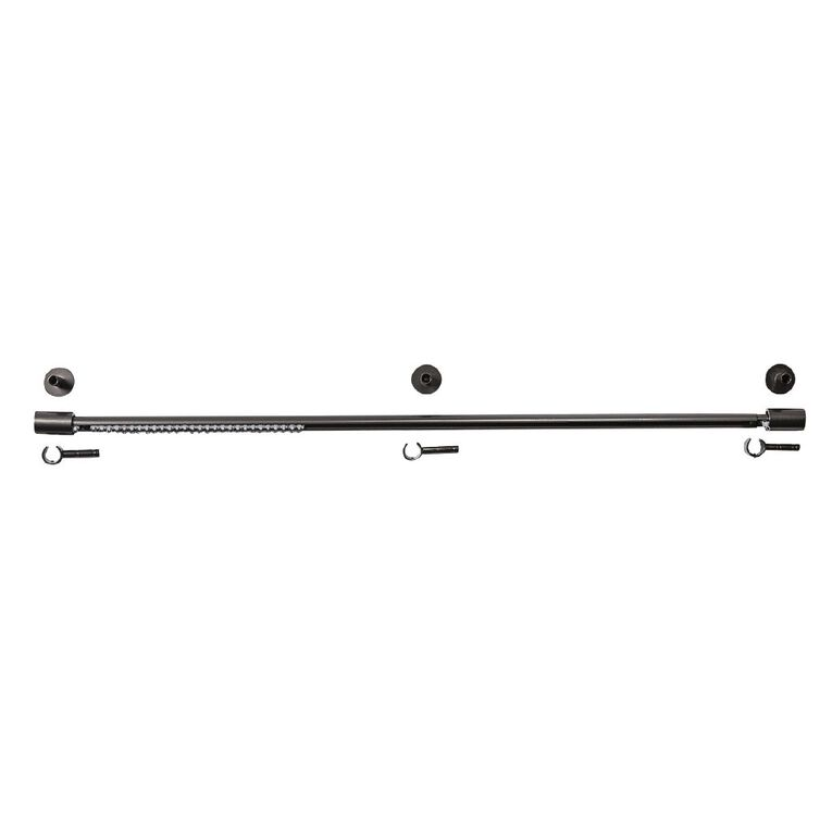 Living & Co Extendable Curtain Rail Charcoal 120-210cm, Charcoal, hi-res image number null