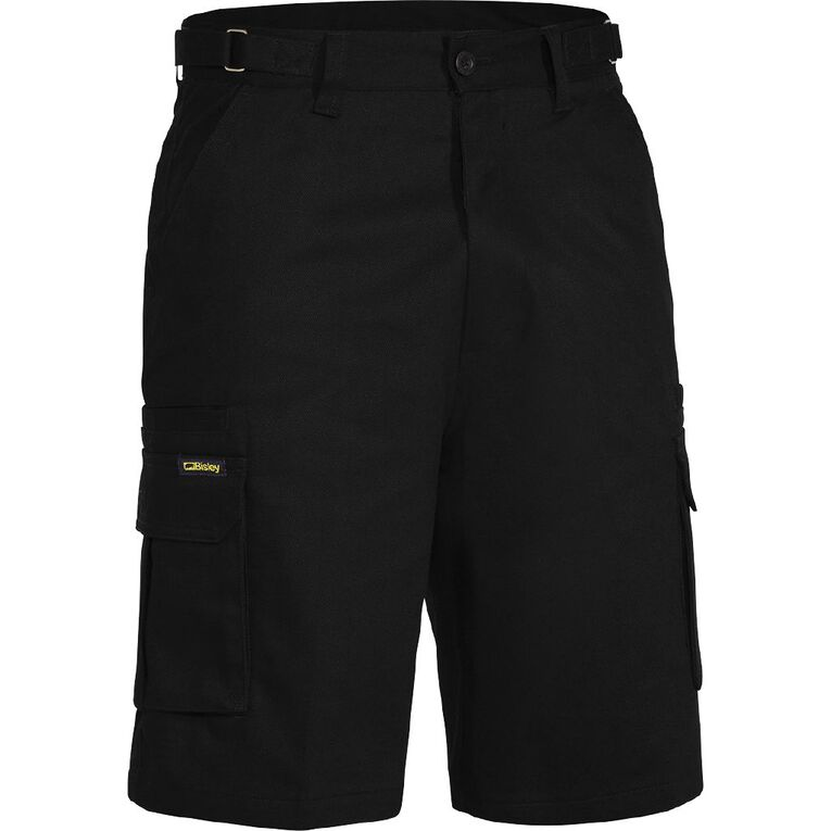 Bisley Workwear Cargo Shorts, Black, hi-res