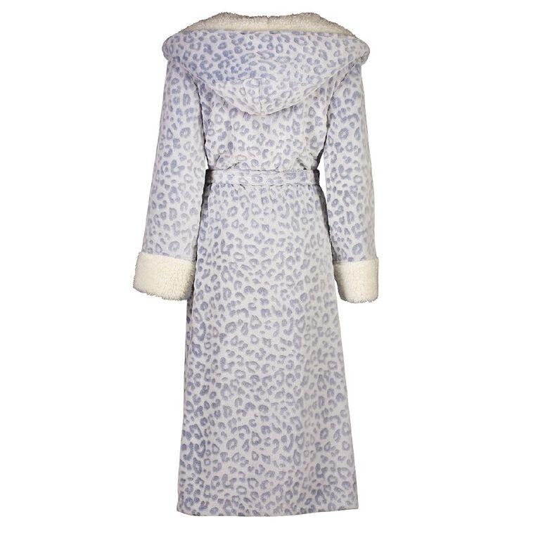 H&H Women's Coral Fleece Hooded Leo Robe, Blue, hi-res